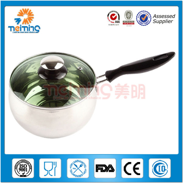 double wall stainless steel milk pot with single handle