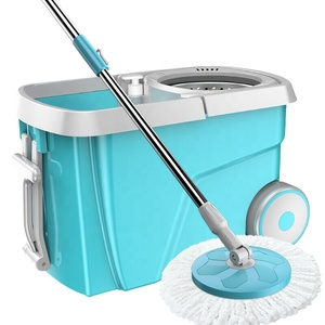 spin magic mop 360 with microfiber refill and stainless twisted pole with big wheels