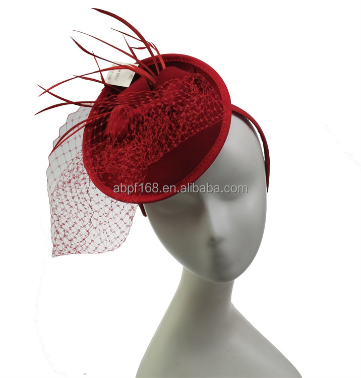 red wool fascinator or hat design appliques