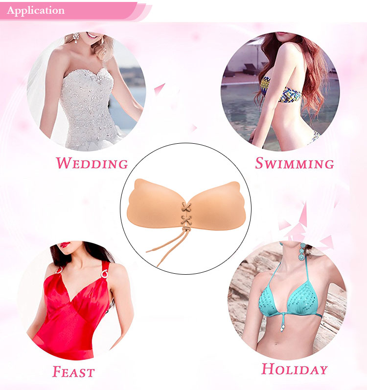 Wing Shape Design Fabric Invisible Adhesive Bra Push Up Bra