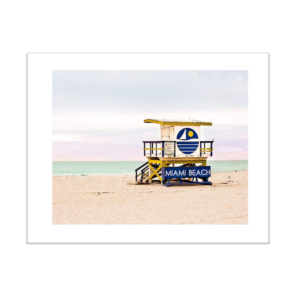 44e99cc14a27 Get Quotations · Miami Beach Lifeguard Stand Surf Tower 5x7 Inch Matted  Photography Print -