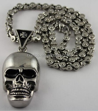new stainless steel motor cycle necklace chain with big skull pendant