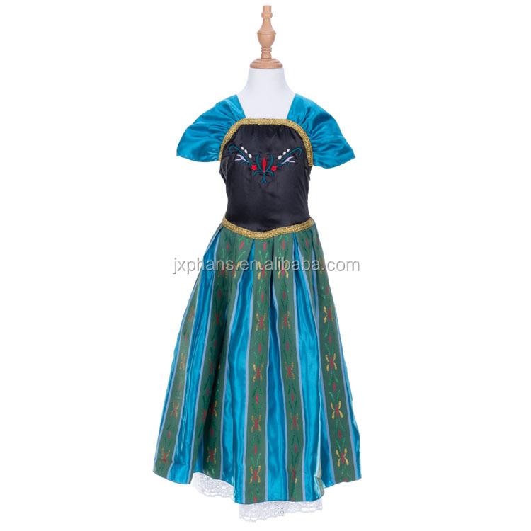 girls Frozen Queen Elsa Princess Anna blue Party Dress  O10 US STOCK