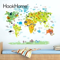 Map Wall Stickers Decal For Home Furnishing Kids Room Decoration