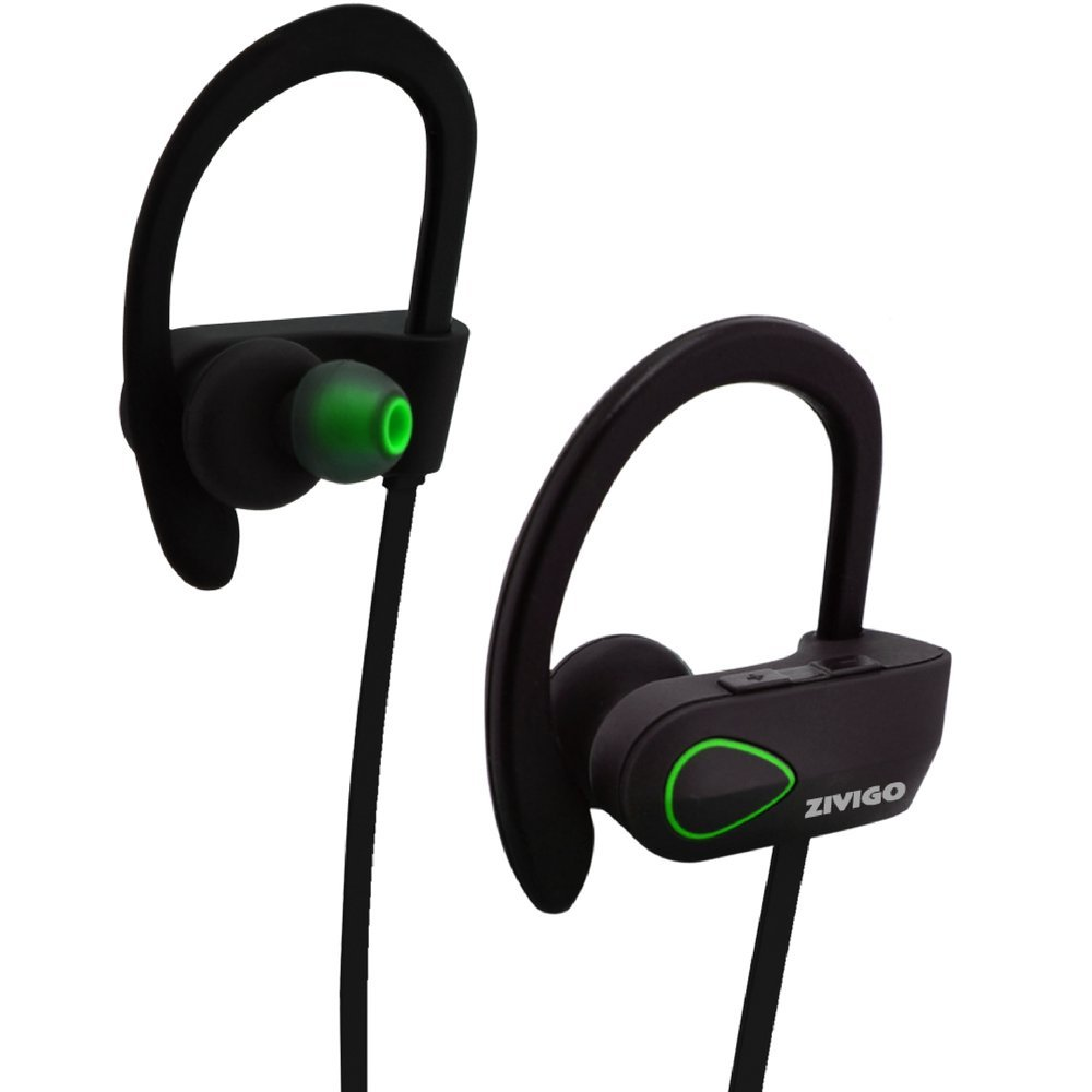Bluetooth Earbuds By Zivigo Wireless Waterproof Headphones, IPX7 Rated, Noise Cancellation Technology, Microphone & Voice prompts,