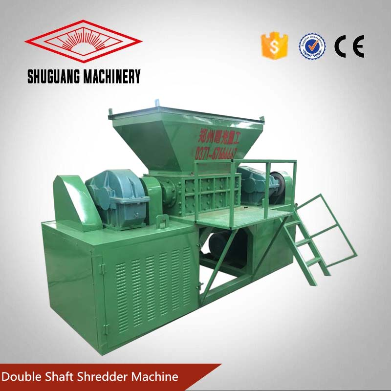 Double shaft tire shredder waste tyre recycling machine
