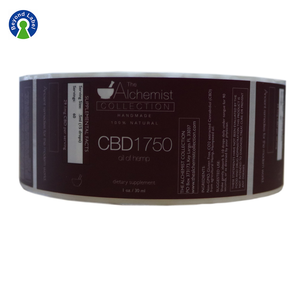 Removable Adhesive CBD Hemp Oil Product Private Label Stickers