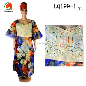 b24e55d1922da LQ199 Queency Wholesale Plus Size Women Fashion Kaftan Design Embroidered  Bazin African Wear Dresses for Ladies