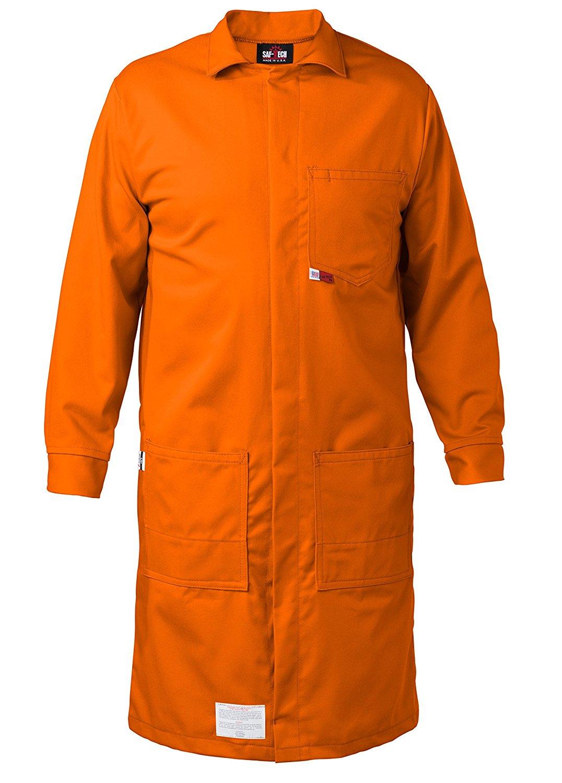 ORANGE - MEDIUM - FR LAB COAT - 6oz. NOMEX III3 Flame Resistant Fabric - Lab or Classroom Ready - HRC 1 - APTV= 5.7 cal/m2 - MADE IN THE U.S.A.