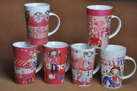 12oz fine bone china colorful coffee mug/cup lovely girls