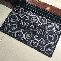 Ivy Painted Silver Welcome Rubber Door Matt