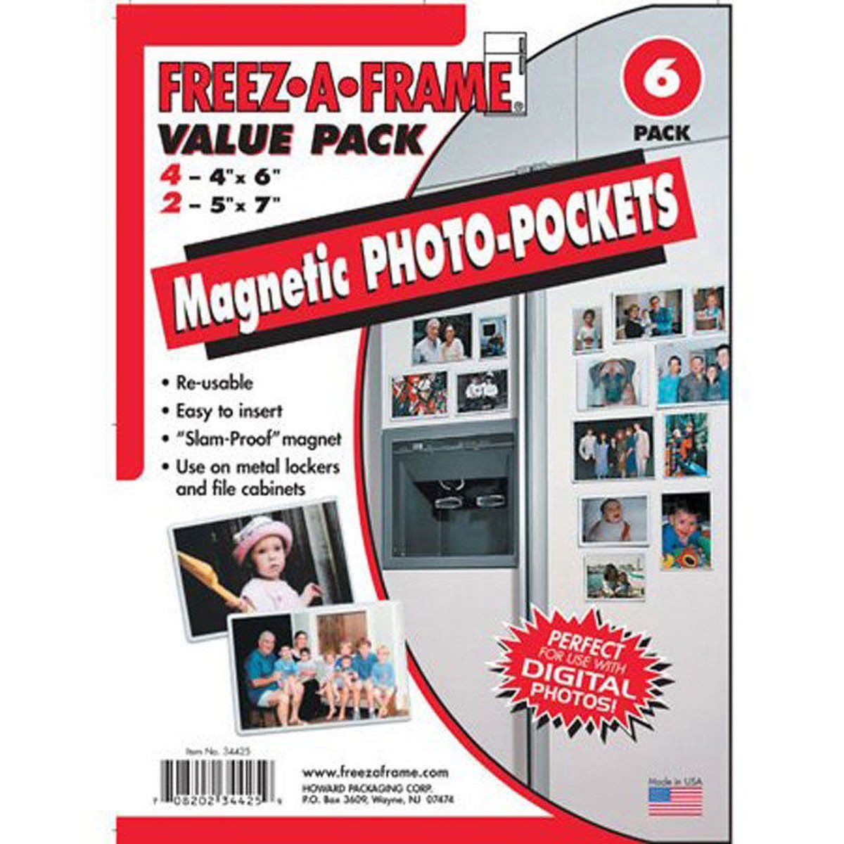 "Clear Magnetic Photo Frame Pockets, Freez-A-Frame for Refrigerator, 4 frames (4""x 6"") & 2 frames (5""x 7"")"