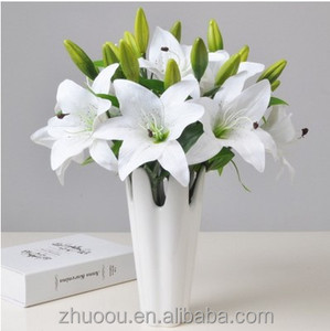 2017 New Design Silk Artificial Easter Lily Paper Flower Calla Lily Artificial Flower for Bride