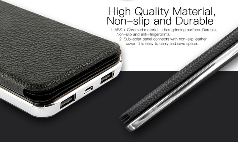 High Quality Polymer Battery 8000mAh Solar Power Bank Dual USB Leather Battery Charger with 6 Big Solar Panels