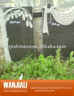 White Black Flat European Style Granite Tombstone