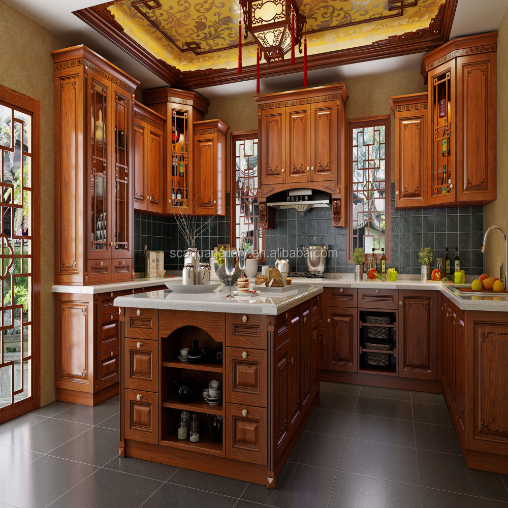 Rustic Style Oak Wood Classic Kitchen Furniture With Custom Island