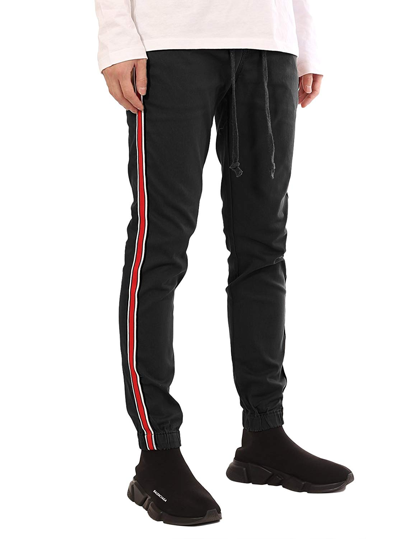 dfda2b06ed29 Get Quotations · JD Apparel Men s Stripe Track Pants Skinny Fit Stretch  Casual Elastic Athletic Slim Joggers