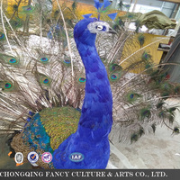 Indoor animatronics Life size blue Peacock Animated Jungle decoration