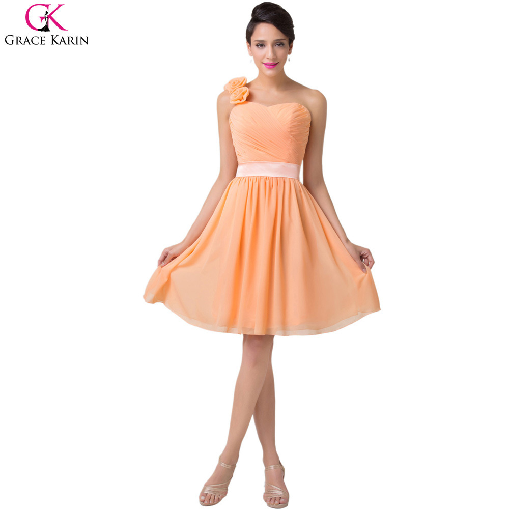 3b129bdef82 Get Quotations · Sweetheart Grace Karin Lace Up Flower Short Chiffon Knee  Length One Shoulder Orange Bridesmaid Dresses Formal