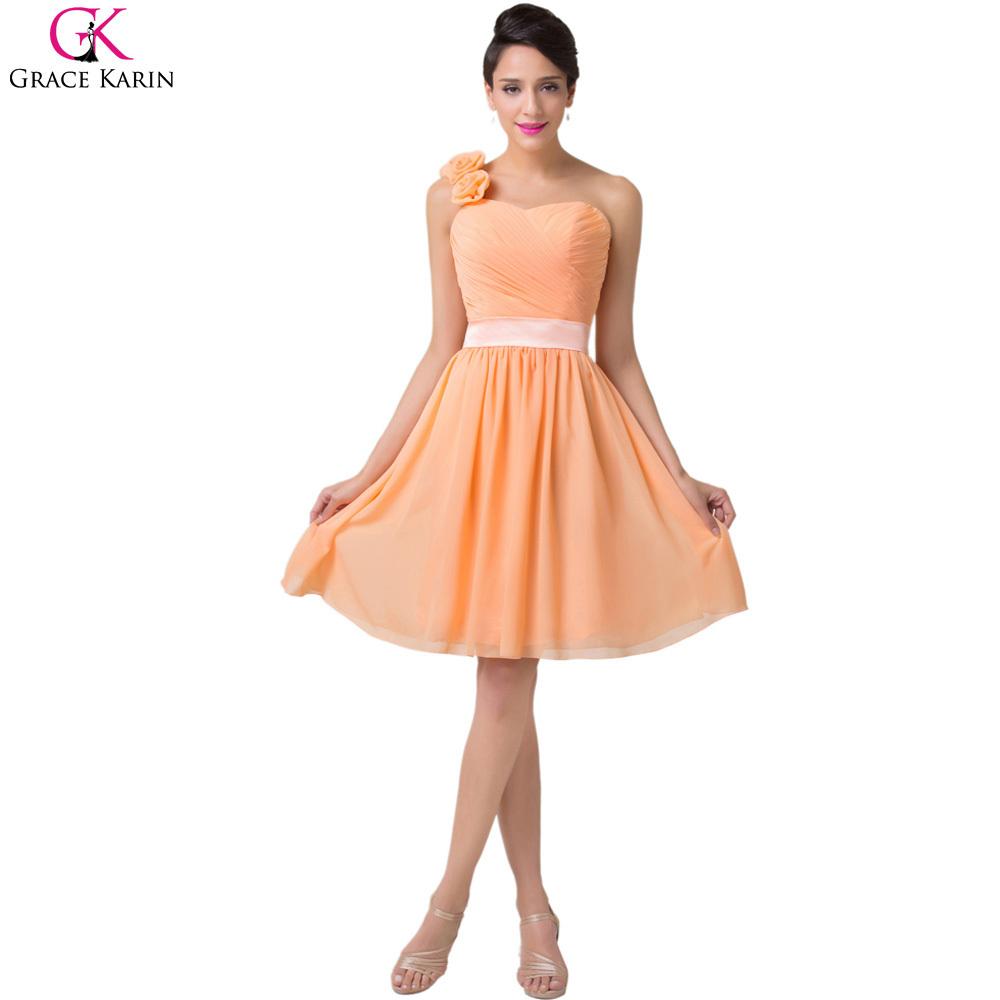 7e1774b7a37 Get Quotations · Sweetheart Grace Karin Lace Up Flower Short Chiffon Knee  Length One Shoulder Orange Bridesmaid Dresses Formal