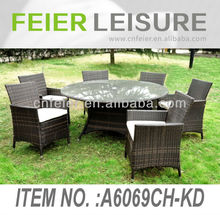 Cheap Rattan Garden Sofas A6069CH-KD 7PC/SET Outdoor Aluminum Rattan/Wicker Dining Chair Rattan Table And Chair Set