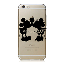 Super Cute Phone Cases for Apple iPhone 6 6 plus Case Cover Luxury PC Clear Black Mickey&Minnie Kiss L0156
