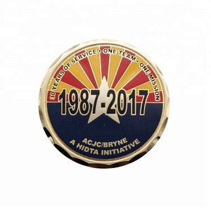 30 years anniversary customized metal coin antique gold plated