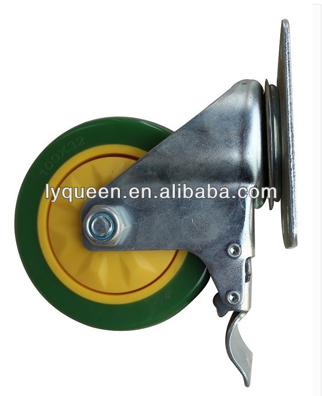 rubber caster mold side locking caster wheel