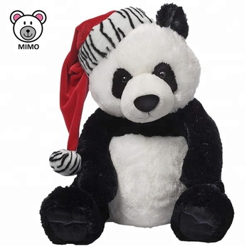 2019 New Christmas Gift Idea Soft Toy Panda Teddy Bear With Xmas Hat
