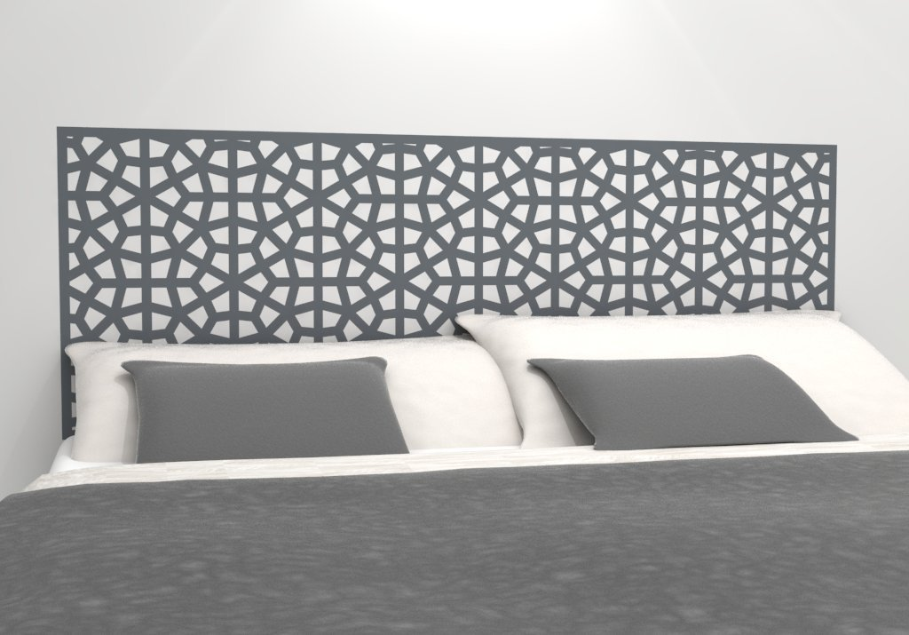 """Moroccan Pattern Headboard Decal - Geometric Pattern Vinyl Wall Sticker - Removable Bedroom Decor - Inspired by Morocco - Headboard Wall Graphic (king 76"""" x 22"""", storm grey)"""