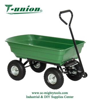 folding garden cart. 4-Wheel Heavy Duty Folding Garden Cart Wagon Dump Trolley Plastic Tools Wheelbarrow A