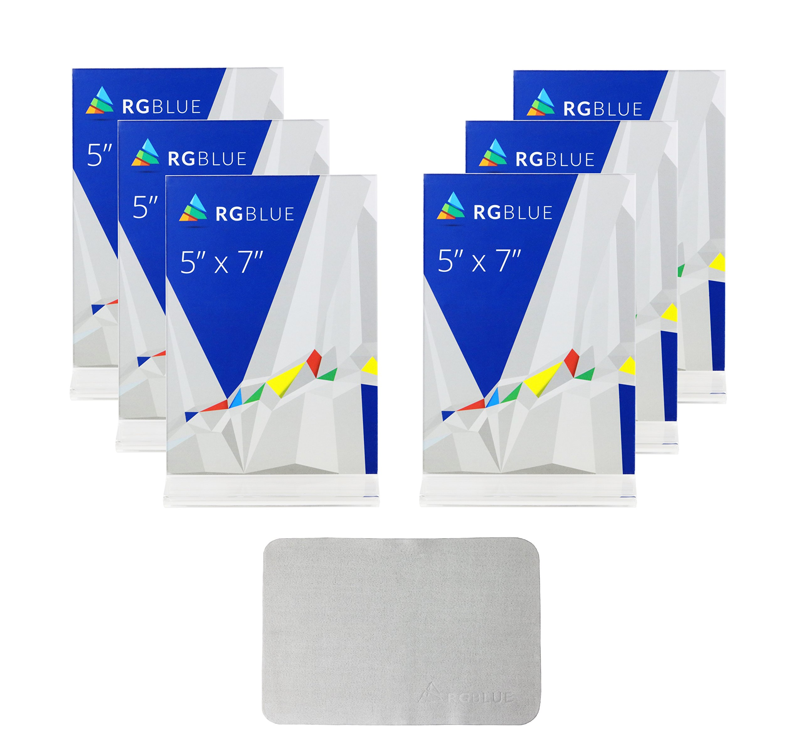 (Pack of 6) 5x7-inches Thick Acrylic Sign Holders, Upright Style, with FREE microfiber cleaning cloth
