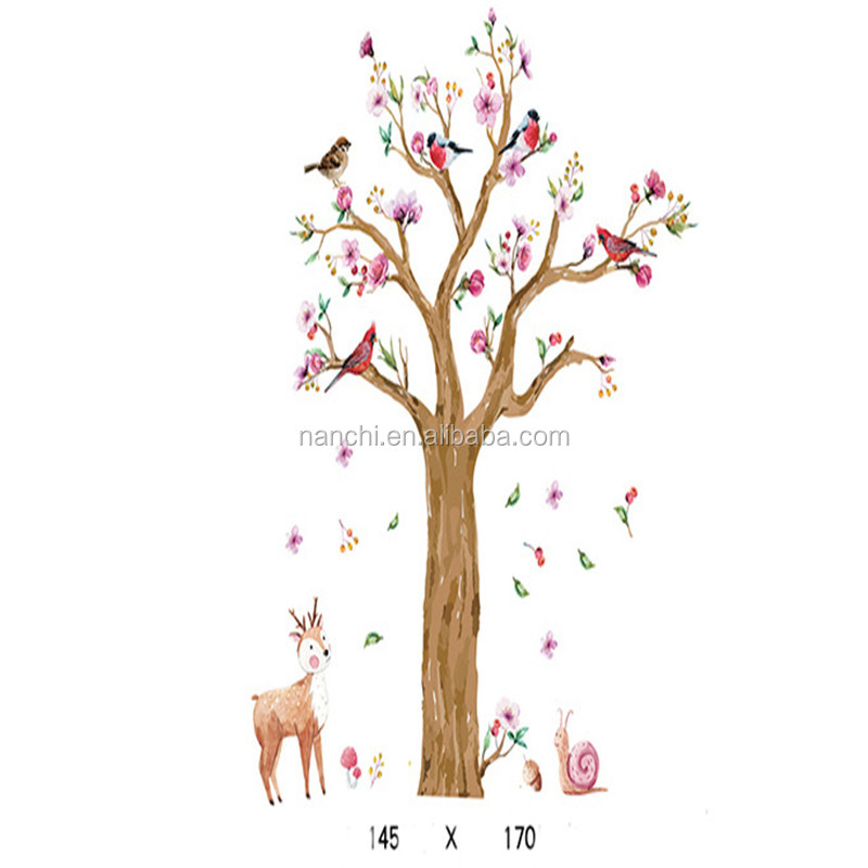 A bird in the forest wall sticker for children room decoration living room decals removable waterproof murals