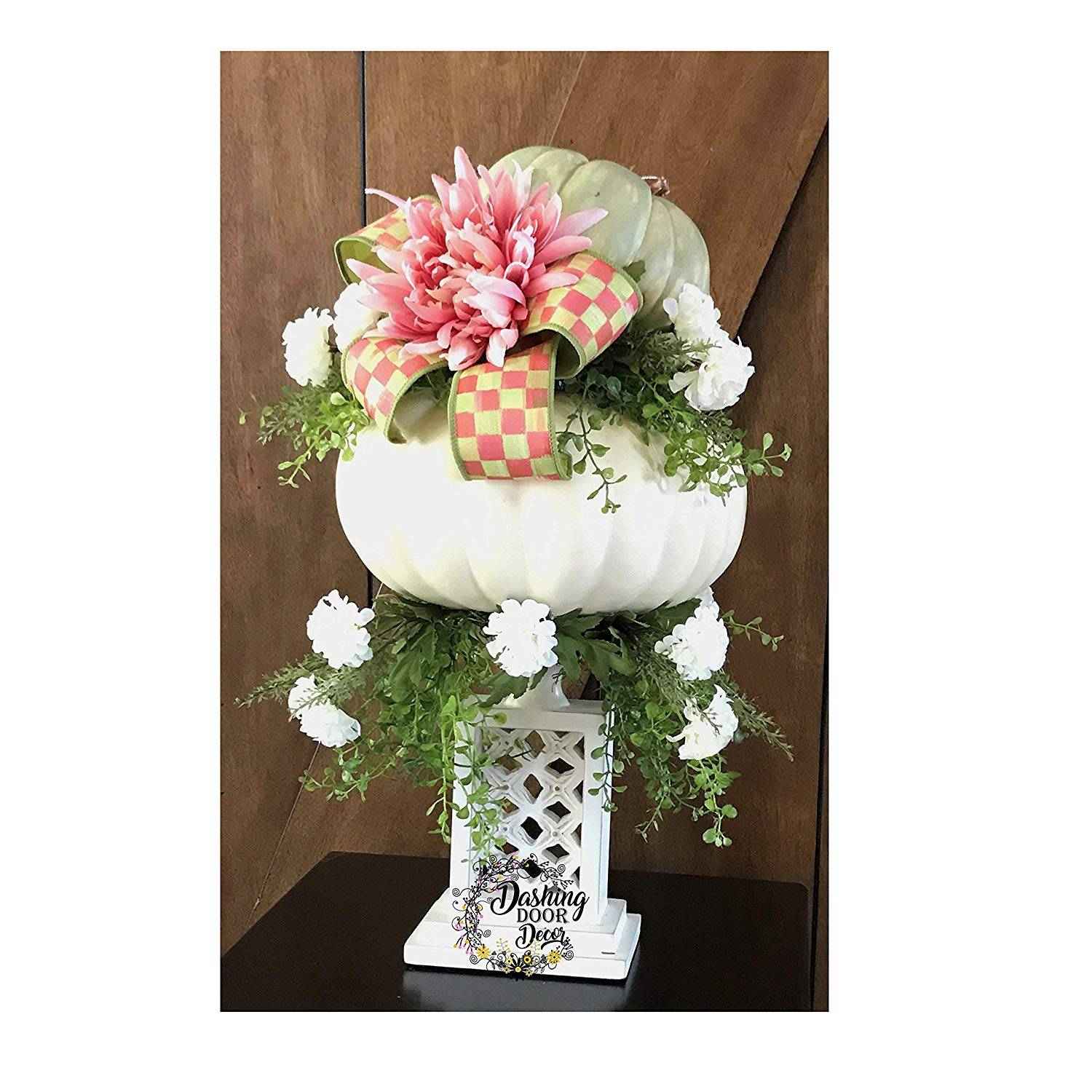 Green & Ivory Shabby Chic Fall Floral Pumpkin Centerpiece