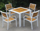 China factory Plastic Wood Outdoor Furniture Coffee Square Shop Patio garden Chair and Table Set
