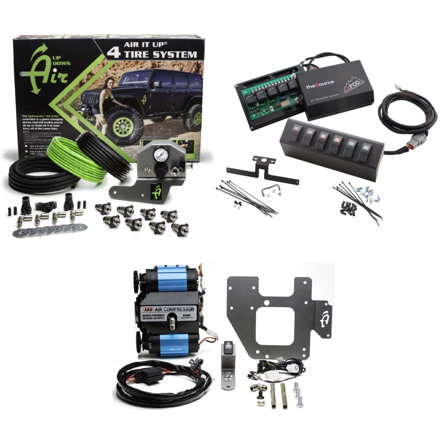 Up Down Air 22-7810/69-0717 Air It Up 4 Tire On Board Air Delivery w/ARB CKMTA12 Compressor & sPOD 600-07 6 Switch 2 Red/Amber/Green Source System for 07-08 Wrangler JK