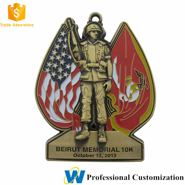 Wholesale Custom 3D American 10K Army War Soldier Martyr Memorial Ribbon Medal