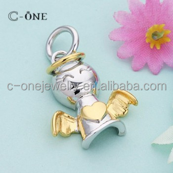 Factory Offer Happy Angel Two Tone 925 Silver Pendant Plain Silver Pendant