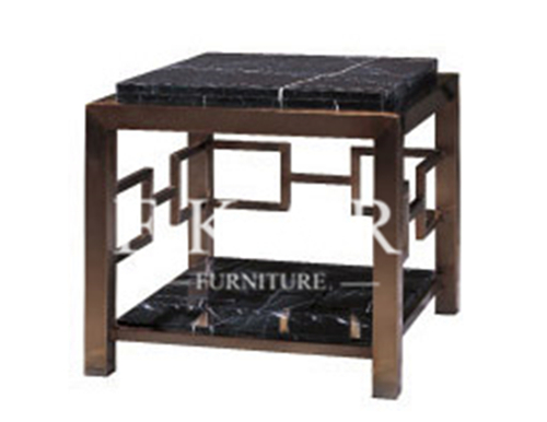 Chinese Traditional Style Square Black Marble Top Wooden Corner Table