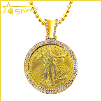 Mens yellow gold sterling silver custom lab diamond liberty coin mens yellow gold sterling silver custom lab diamond liberty coin pendant aloadofball