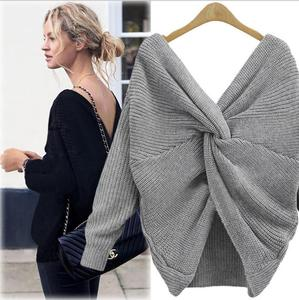 V Neck Twisted Back Sweater Women Jumpers Pullovers Long Sleeve Knitted pull femme Sweater