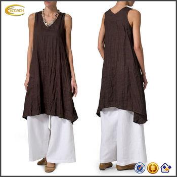 393406371ca6aa OEM wholesale Linen Sleeveless Crumple Effect vented sides Long Blouse  pakistani ladies dresses