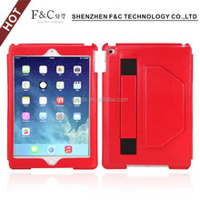 2016 New design folio stand PU leather case cover for Ipad air 2 case for ipad mini Kickstand function with hand strap hand hold