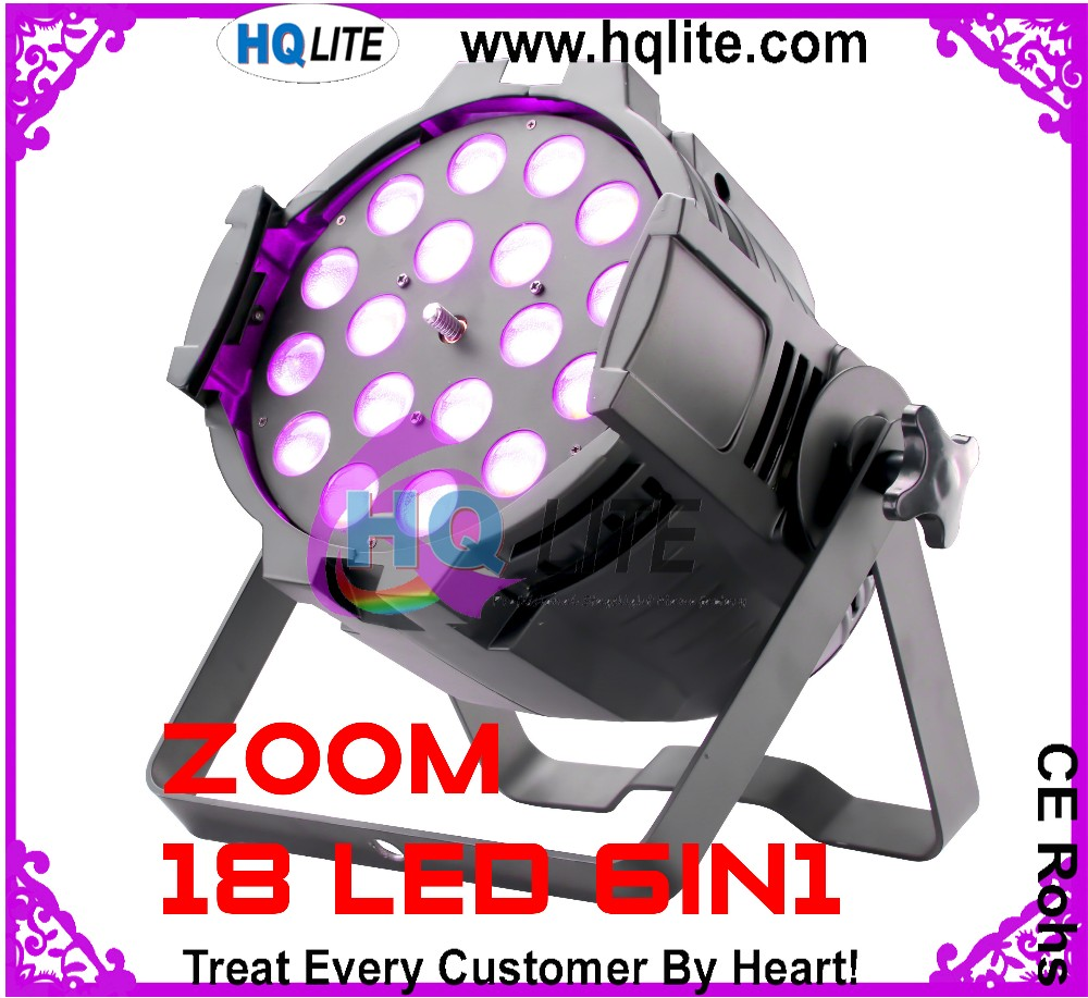 Powerful led stage light 18x18w 6in1 RGBWA UV zoom par led par dmx512 led wash par 64 can