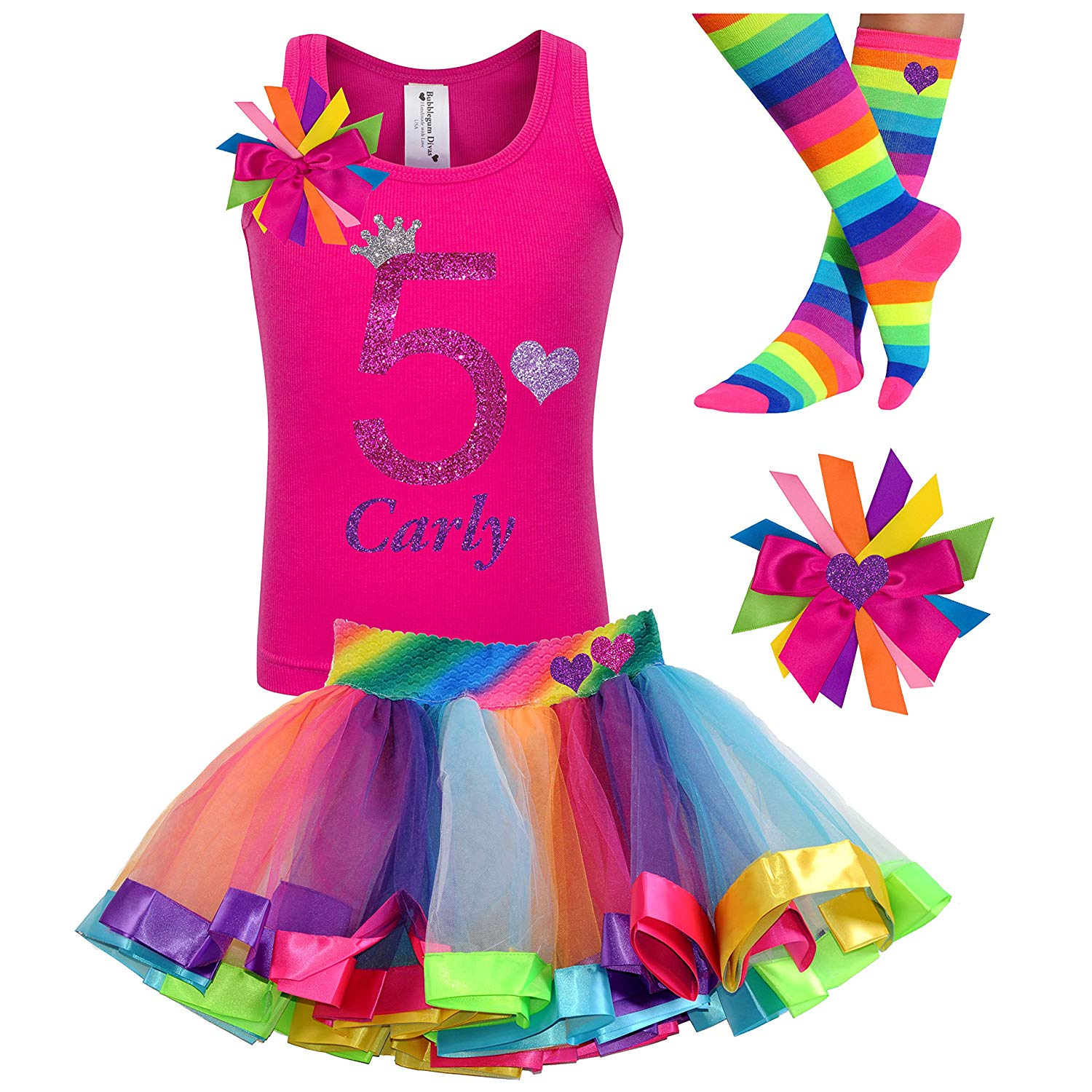 Get Quotations 5th Birthday Shirt Rainbow Tutu Girls Party Outfit 4PC Gift Set Personalized Custom Name Age 5