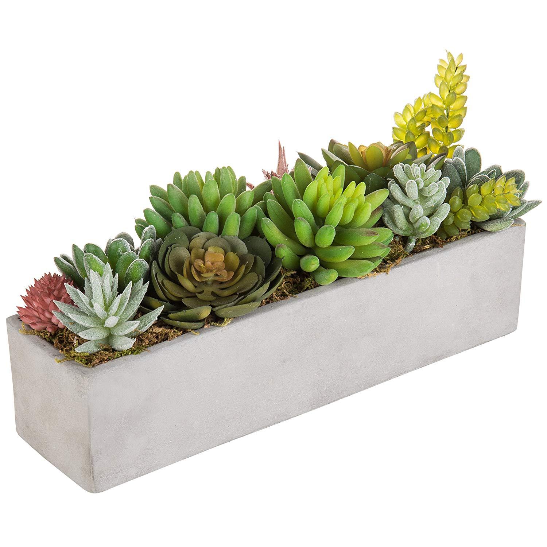 MyGift Faux Succulent Plant Arrangement in 13-Inch Gray Cement Pot