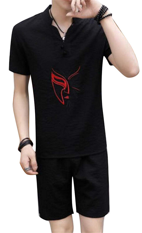 Jofemuho Mens Shorts 2 PCS Suit Short Sleeve Embroidery Cotton Linen Top T-Shirt Blouse