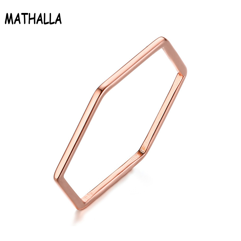 Simple Geometric Jewelry Rose Gold Thin Hexagon <strong>Ring</strong> Women Girls Stainless Steel <strong>Ring</strong>