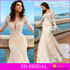 New Collection Sexy Mermaid Exquisite Lace Appliqued Alibaba Wedding Dress 2017