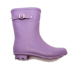 Fashionable purple wellington waterproof women half boots printing lining and side buckle